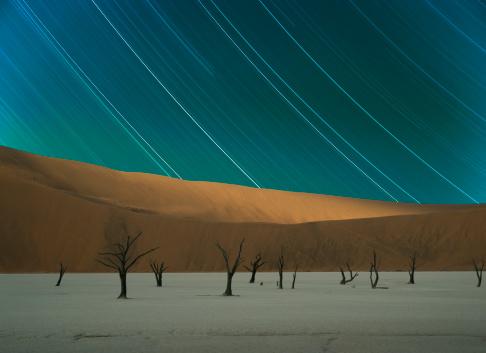 Namib Desert「Stars stripes and dead trees in desert」:スマホ壁紙(10)