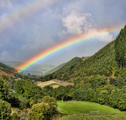 虹「の二重の虹の谷」:スマホ壁紙(10)