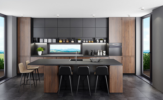Kitchen Counter「Fresh matte balck kitchen with English oak wood cabinets and island table at country side background」:スマホ壁紙(2)