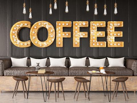 Brick Wall「Light Bulb Coffee Shop Sign on Black Brick Wall」:スマホ壁紙(19)