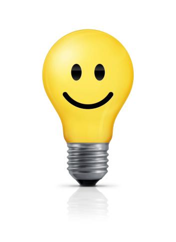 幸福「電球-のスマイリーフェースに」:スマホ壁紙(17)