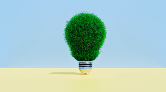 Zero「Light bulb covered in grass shows concept of thinking green」:スマホ壁紙(5)