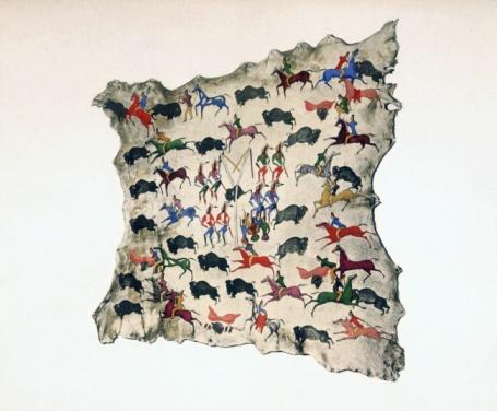 20th Century Style「Depiction of bison hunt on moose skin」:スマホ壁紙(17)