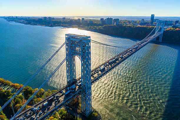 George Washington Bridge, NYC, rush hour, view from helicopter, silhouette:スマホ壁紙(壁紙.com)