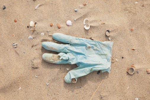 Belgium「Belgium, rubber glove lying on sandy beach at North Sea coast」:スマホ壁紙(9)