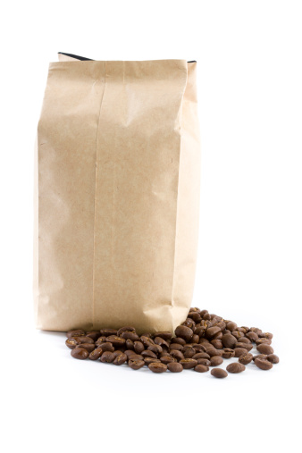 Coffee - Drink「bag with coffee beans isolated on white」:スマホ壁紙(10)
