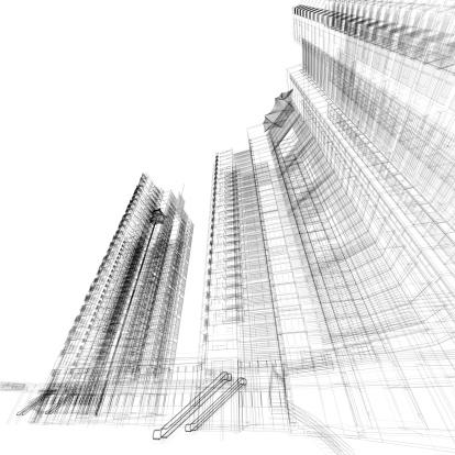 Wire-frame Model「Building Wireframe」:スマホ壁紙(19)