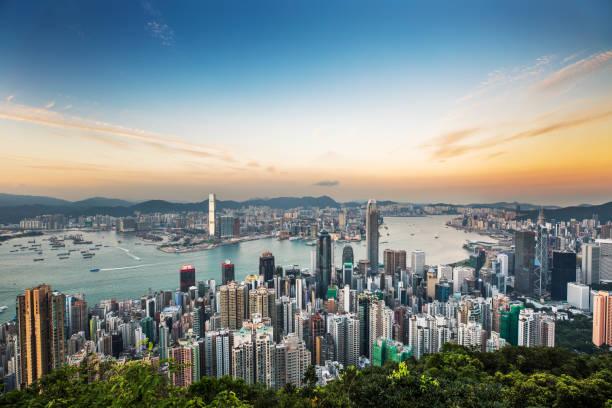 Hong kong skyline at sunset:スマホ壁紙(壁紙.com)