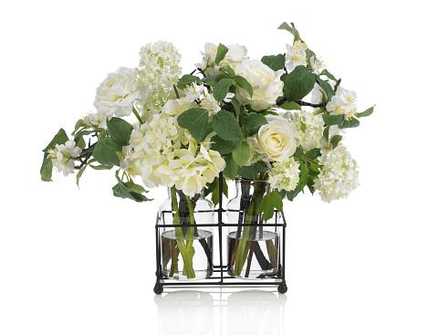 あじさい「アップルの花とバラのブーケを白背景」:スマホ壁紙(19)