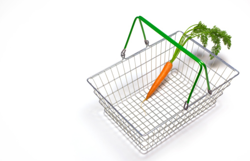 Shopping Basket「Dieting shopping basket with single carrot」:スマホ壁紙(16)