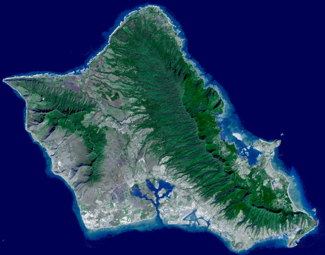 オアフ島「Satellite image of Oahu, Hawaii.」:スマホ壁紙(2)