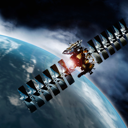 Spacecraft「Satellite in space orbiting earth」:スマホ壁紙(2)