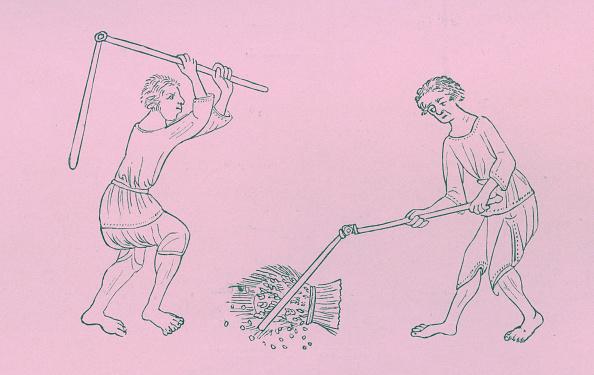 Circa 14th Century「Serfs threshing corn」:写真・画像(14)[壁紙.com]