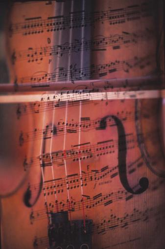 Violin「Violin, bow and sheet music, full frame (composite)」:スマホ壁紙(14)