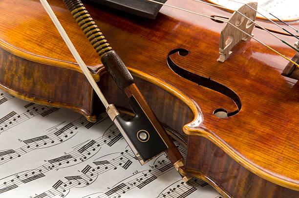 Violin, Bow and Sheet Music:スマホ壁紙(壁紙.com)