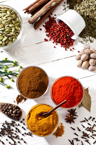 Spice「Some spices and herbs shot directly above on white table」:スマホ壁紙(9)