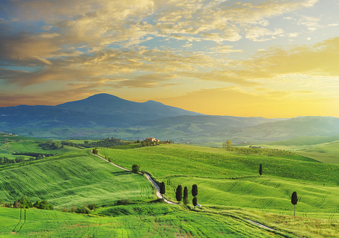 Hungary「Sunset in Val d'Orcia, Tuscany, Italy」:スマホ壁紙(8)