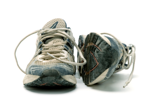 Shoe「Pair of old used running shoes isolated on white background」:スマホ壁紙(2)