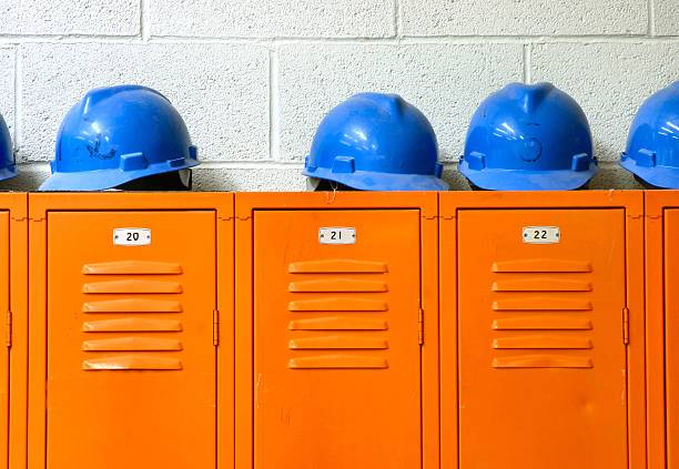 Blue Hard Hats on top of orange Lockers:スマホ壁紙(壁紙.com)