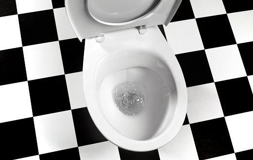 Public Restroom「Flushing toilet bowl landscape」:スマホ壁紙(4)