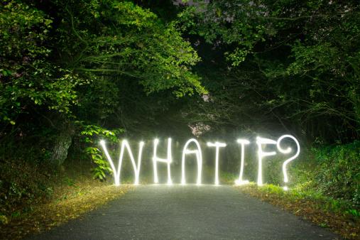 Uncertainty「'What if ?' written in light across a road」:スマホ壁紙(8)