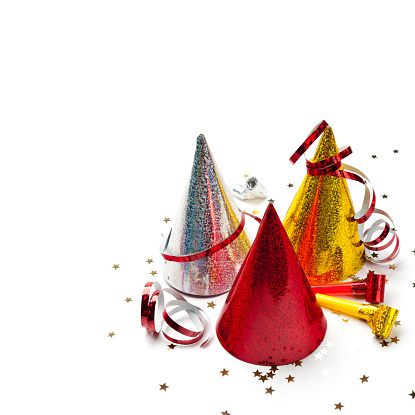 Carnival - Celebration Event「Party hats, whistles, streamers, confetti, isolated on white, studio shot」:スマホ壁紙(6)