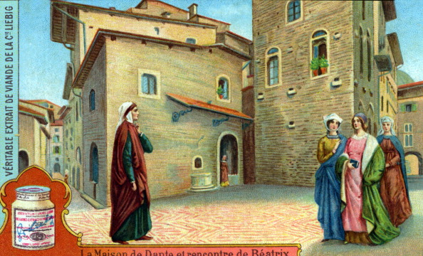 Circa 14th Century「Dante Alighieri meeting Beatrice Portinari」:写真・画像(7)[壁紙.com]