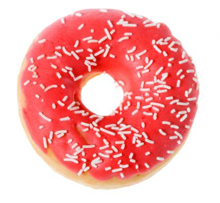 ドーナツ「ドーナツにピンクのクリームに白背景」:スマホ壁紙(16)