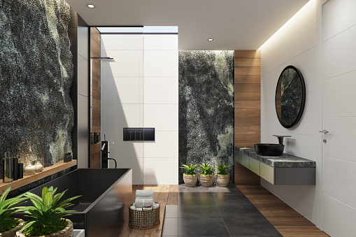 Scandinavia「Spa bathroom in luxurious modern villa with huge natural rock wall」:スマホ壁紙(19)