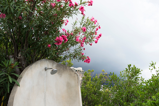 flower「Outdoor shower with pink flowers and misted up mountain in the background, Amalfi coast」:スマホ壁紙(0)