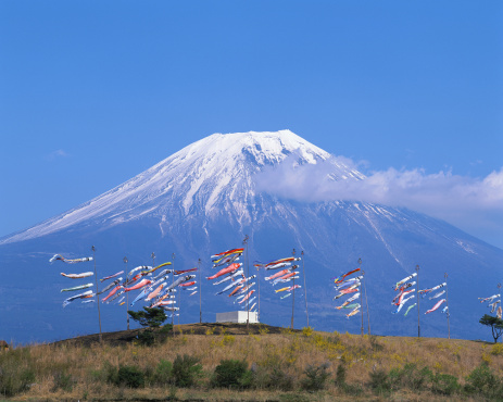こどもの日「Colorful windsocks in front of Mt Fuji, Shizuoka, Japan」:スマホ壁紙(5)
