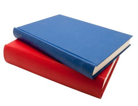 Book Spine「Blue and red books isolated on white」:スマホ壁紙(18)
