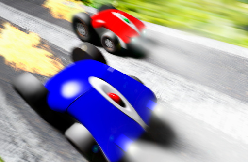 Motor Racing Track「Blue and red cars racing (digital composite)」:スマホ壁紙(0)