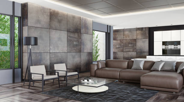 Modern dark stone home interior:スマホ壁紙(壁紙.com)