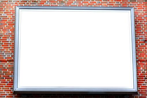 Marketing「large empty billboard on a red brick stone wall」:スマホ壁紙(17)