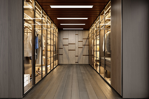 Clothing「Dressing Room With Shelves And Lighting Equipment」:スマホ壁紙(11)