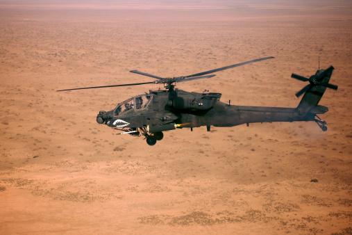 Arid Climate「An AH-64D Apache Longbow fires a Hydra 70 rocket over northern Iraq.」:スマホ壁紙(12)