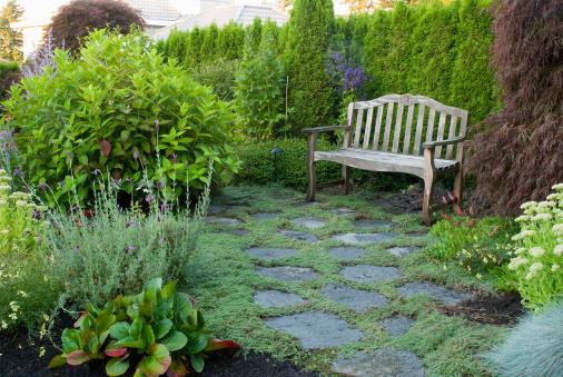 Paving Stone「Bench in residential garden」:スマホ壁紙(19)