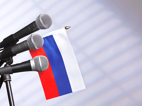 Party Conference「Russian flag with mics」:スマホ壁紙(14)