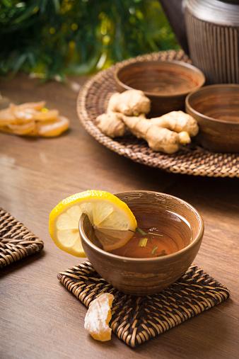 Ice Tea「Ginger lemon tea in a tea bowl, candied and fresh ginger」:スマホ壁紙(13)