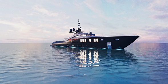 Wealth「Luxury super yacht in calm sea at dusk」:スマホ壁紙(5)