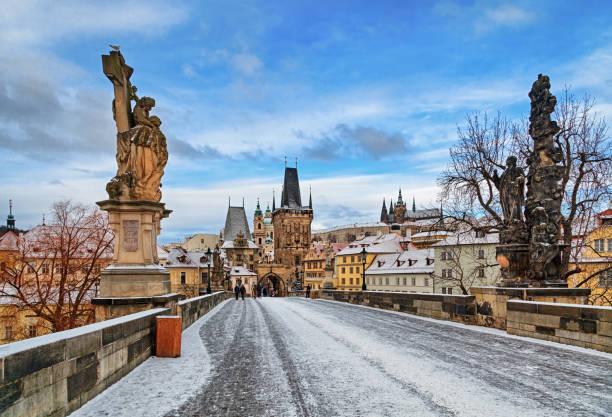 Empty Charles Bridge at winter morning, Prague:スマホ壁紙(壁紙.com)