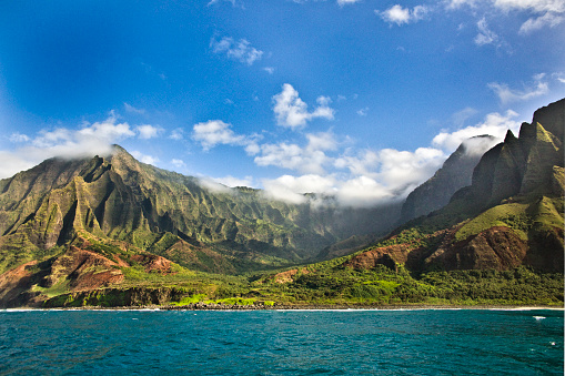 Coastline「Mysterious Misty Na Pali Coast and Waimea Canyon, Kauai, Hawaii」:スマホ壁紙(7)