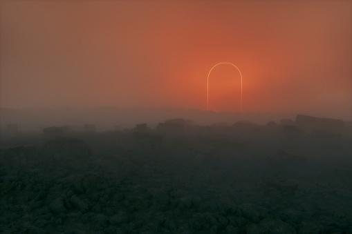 Hell「Mysterious glowing entrance in dark fantasy landscape」:スマホ壁紙(8)
