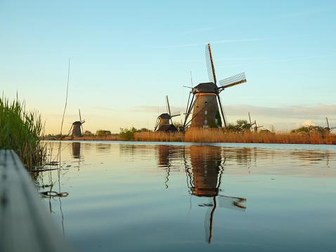 Mill「Old windmills near canal in Netherlands」:スマホ壁紙(14)
