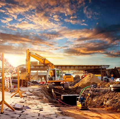 Development「Excavator on a road construction site」:スマホ壁紙(11)