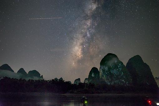 star sky「漓江、桂林、中国で撮影した天の川銀河の写真」:スマホ壁紙(0)