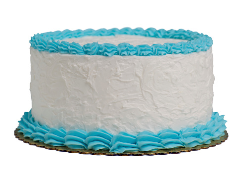 Icing「A large round cake with blue and white frosting isolated」:スマホ壁紙(9)