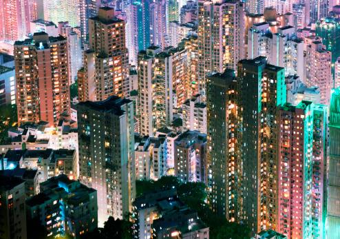 Hong Kong Island「China, Hong Kong, apartment blocks at night」:スマホ壁紙(7)