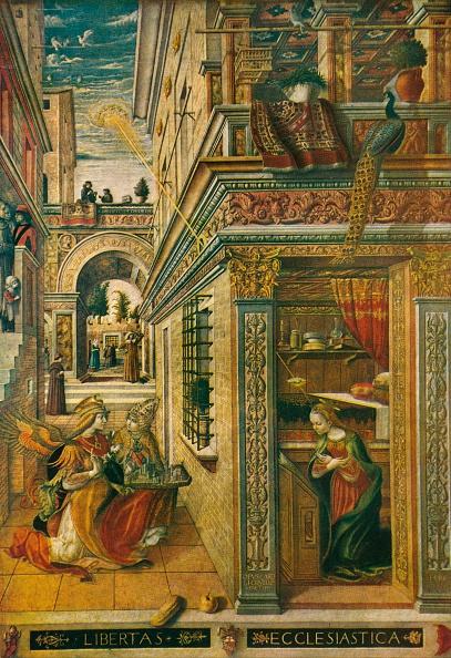 Religious Saint「The Annunciation, with Saint Emidius, 1486, (1911). Artist: Carlo Crivelli」:写真・画像(1)[壁紙.com]